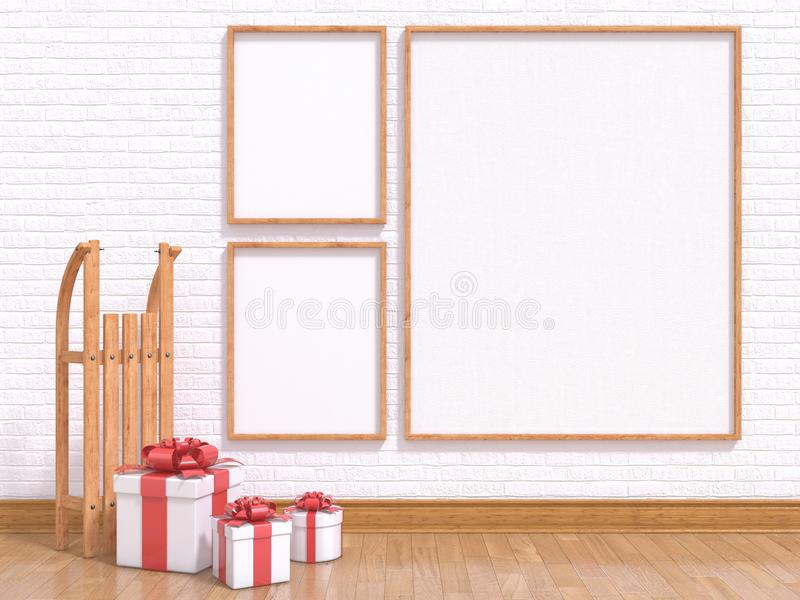 Mock up poster with wooden sledge and Christmas presents. 3D render royalty free illustration