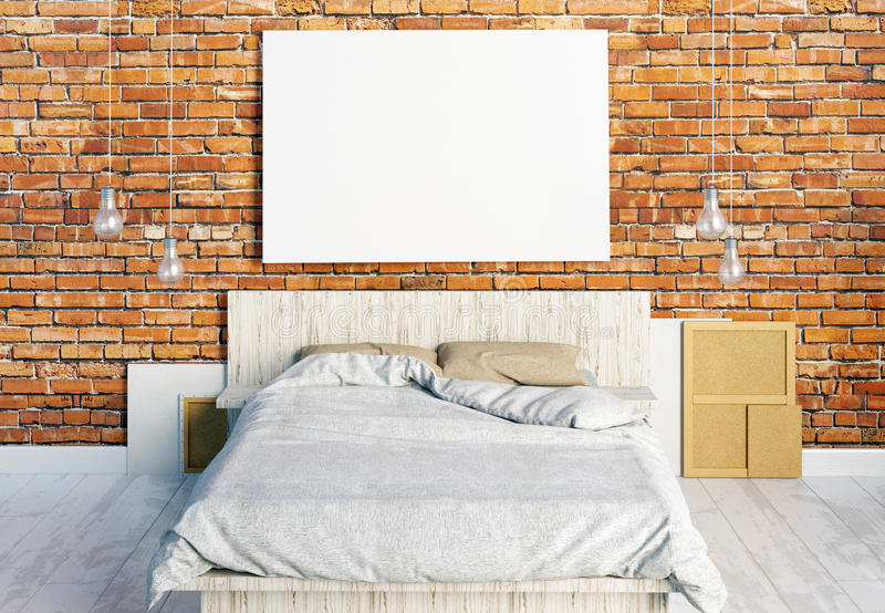 Mock up posters in bedroom interior. Bedroom hipster style. royalty free illustration
