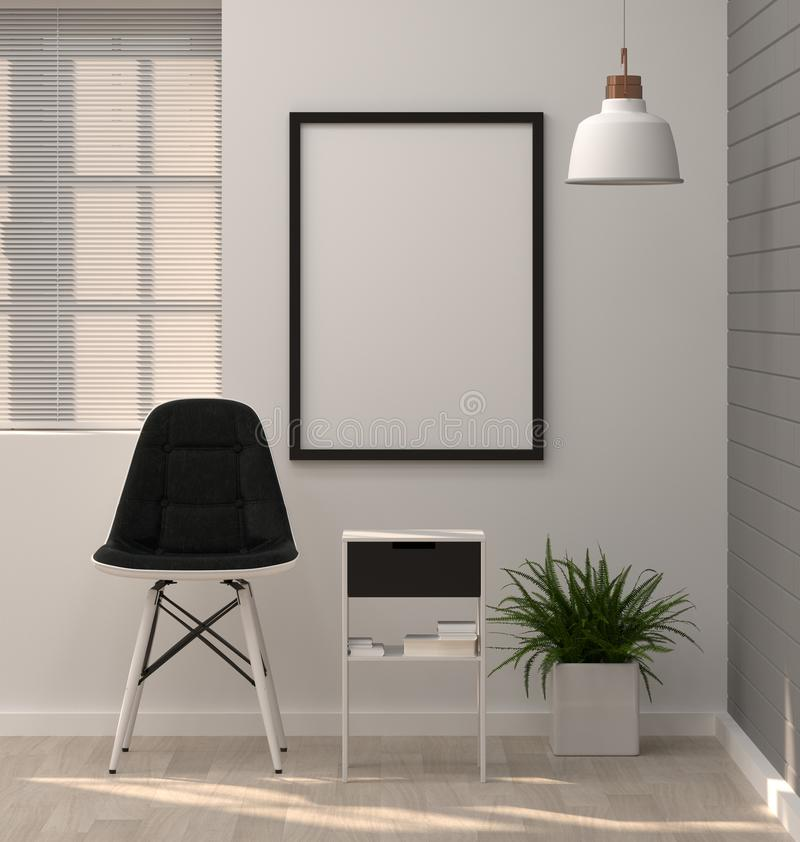 Mock up posters frame in modern living room 3D rendering chair a royalty free illustration