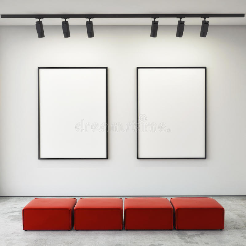 Mock up posters frames and canvas in gallery interior background, royalty free stock image