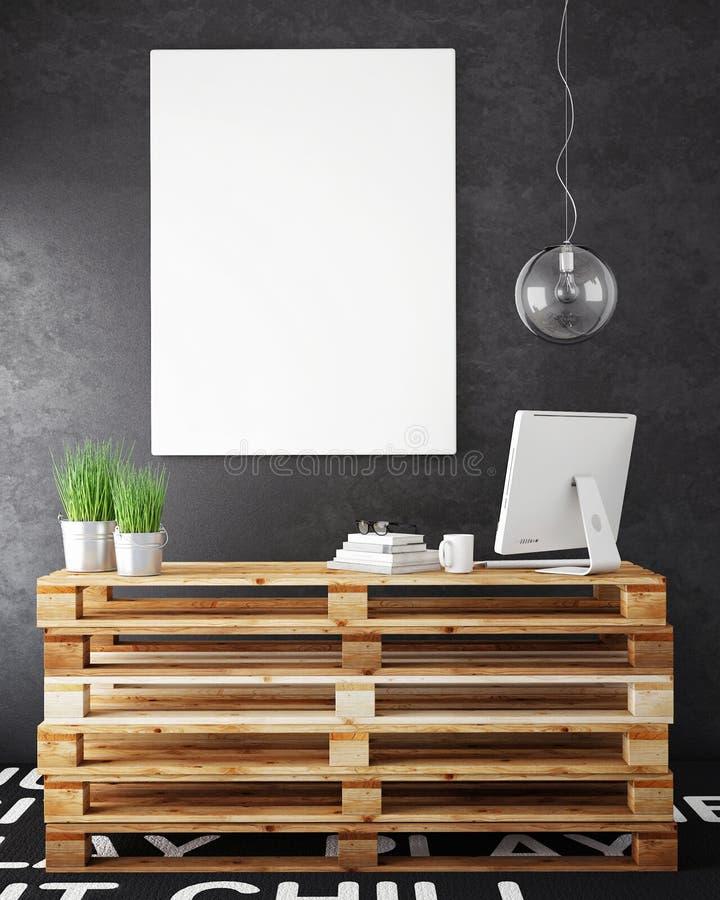 Mock up posters frames and hipster loft interior background. 3D render