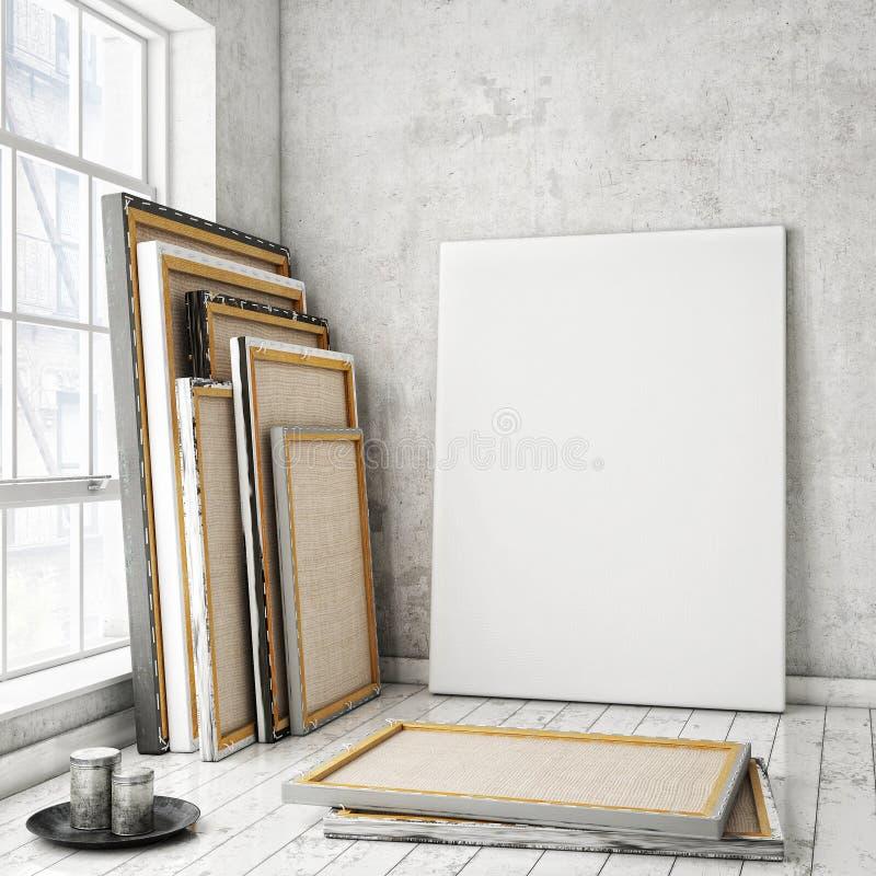 Mock up posters frames. Mock up poster frames and canvas in white Scandinavian vintage hipster loft, interior background, 3D render