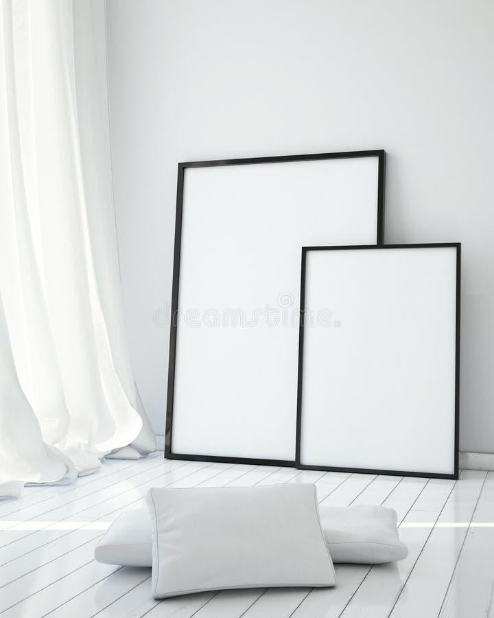 Mock up posters frames stock illustration. Illustration of interior ...