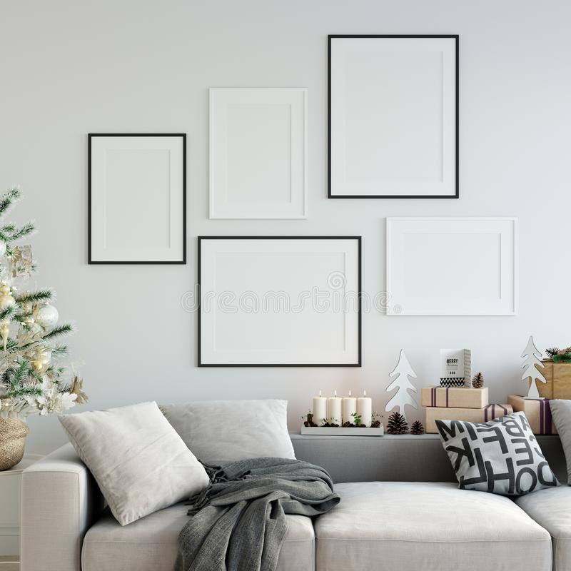 Free Mock Up Posters In Living Room Christmas Interior. Interior Scandinavian Style. 3d Rendering, 3d Illustration Stock Images - 102512454