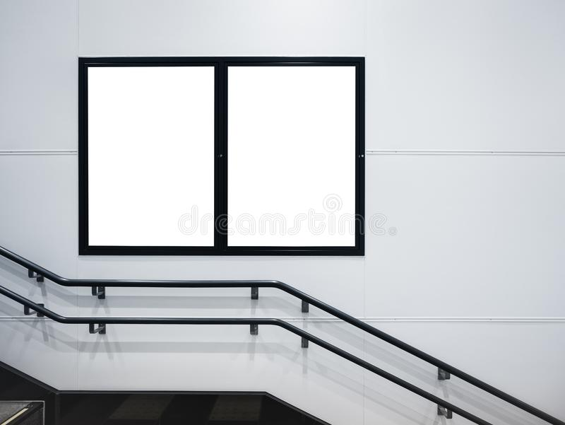 Mock up Posters media advertising in Public building space. With stairs royalty free stock images