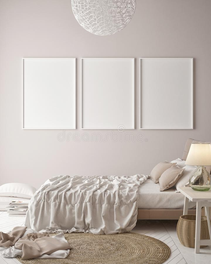 Mock up posters on minimalism pastel wall , hipster bedroom stock illustration