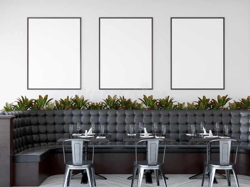 Mock up posters in modern restaurant interior, 3d render vector illustration