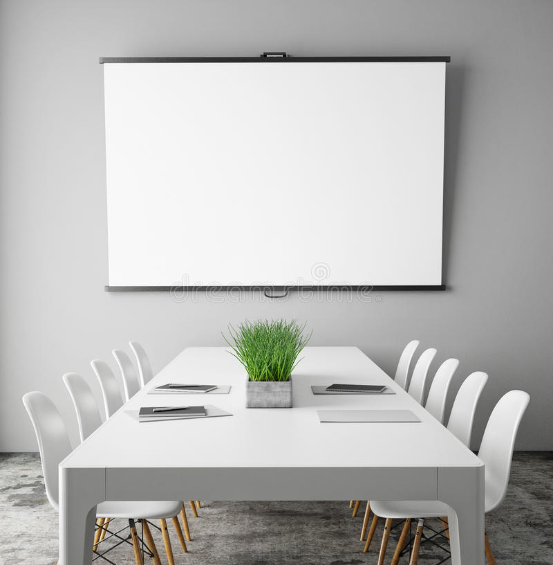 Free Mock Up Projection Screen In Meeting Room With Conference Table, Hipster Interior Background, Royalty Free Stock Image - 59967306