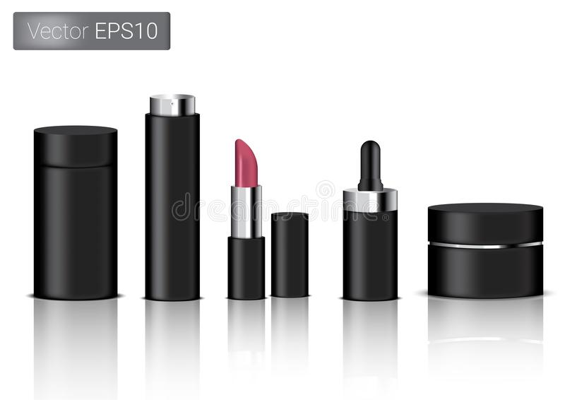 Mock up Realistic Black Packaging Product For Cosmetic Beauty Bottle, Spray, Lipstick And Dropper or Pipette For Make up isolated royalty free illustration