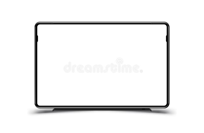 Mock-up realistic black TV monitor on a white background. Flat vector illustration EPS 10.  vector illustration