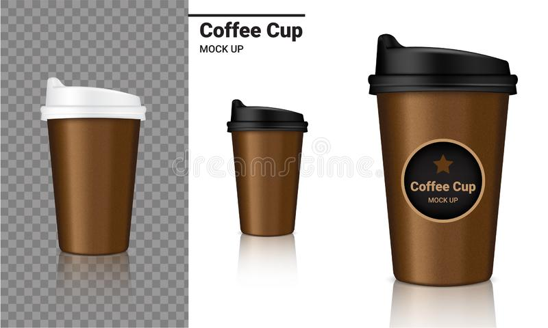 Mock up Realistic Coffee Cup Packaging Product and Logo Design with Black, White, Paper Brown Color on Transparent and White stock illustration