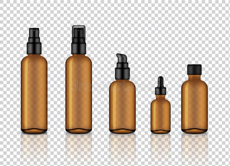Mock up Realistic Glossy Amber Transparent Glass Cosmetic Soap, Shampoo, Cream, Oil Dropper and Spray Bottles Set With Black Cap f. Or Skincare Product vector illustration