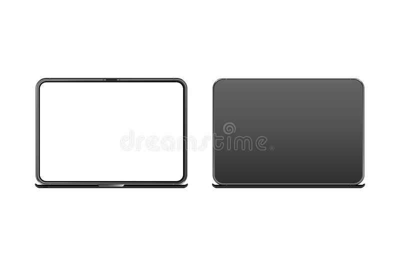 Mock-up of realistic Laptop. Front side with screen and back side isolated on white background with shadow. Flat vector stock illustration