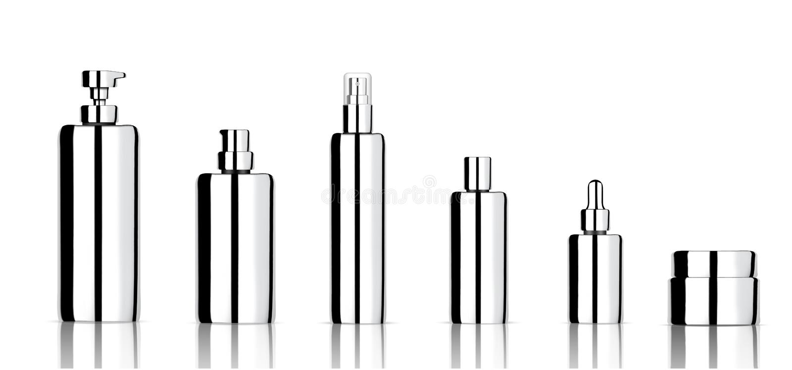 Mock up Realistic Metallic Cosmetic Soap, Shampoo, Cream, Oil Dropper and Spray Bottles Set for Skincare Product with Cap on white royalty free illustration