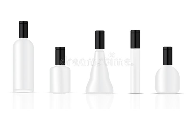 Mock up Realistic Plastic Black and White Packaging Product For Cosmetic Beauty or Alcohol Bottle isolated Background. stock illustration