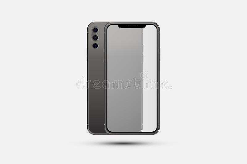 Mock-up of realistic Smartphone. Front side with transparent screen and back side with cameras isolated on white background with stock illustration