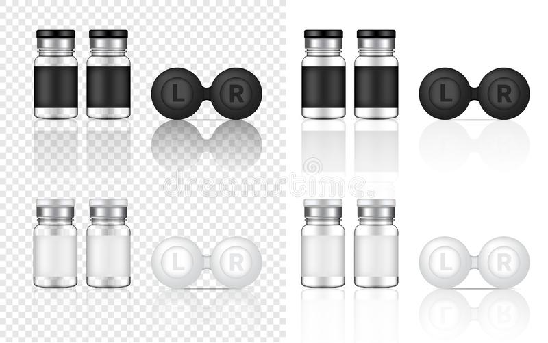 Mock up Realistic Transparent Contact Lenses Bottles Product Background Illustration stock illustration