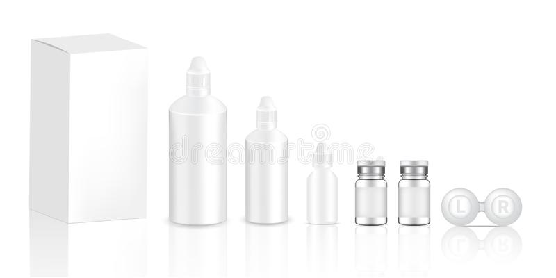 Mock up Realistic Transparent Contact Lenses Bottles Product, Eye Dropper and Case With Carton Background Illustration vector illustration