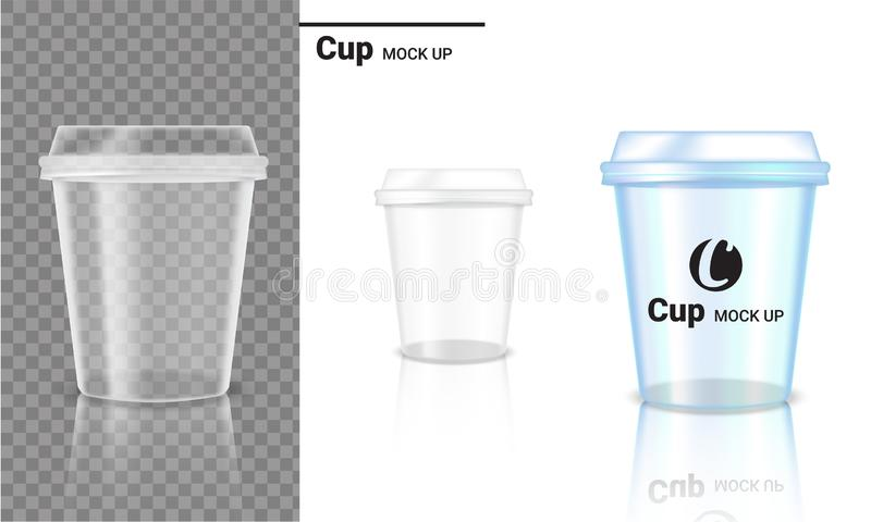 Mock up Realistic Transparent Cup Plastic Packaging Product and Logo Design on Transparent and White Background Illustration royalty free illustration
