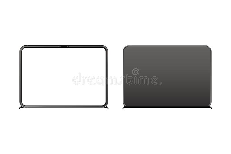Mock-up of realistic TV Monitor. Front side with screen and back side isolated on white background with shadow. Flat vector stock illustration