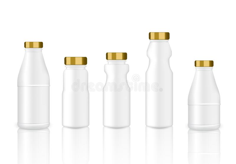Mock up Realistic White and Gold Plastic Packaging Product For Milk, Soft Drink or Water Juice Bottle isolated Background. stock illustration