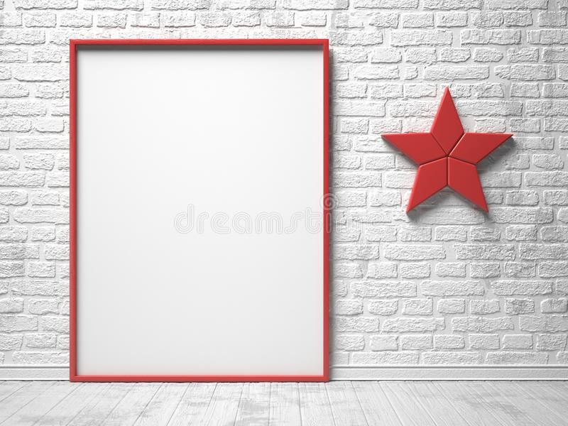 Mock-up red canvas frame, red star decor and brick wall. 3D. Render illustration royalty free illustration
