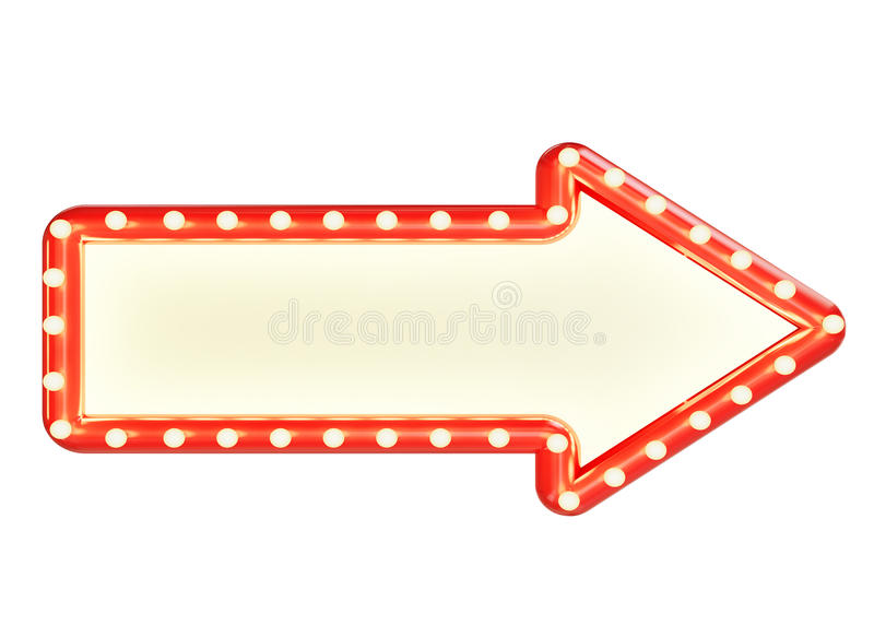 Mock up red marque arrow sign with blank space and light bulbs, isolated on white background stock illustration