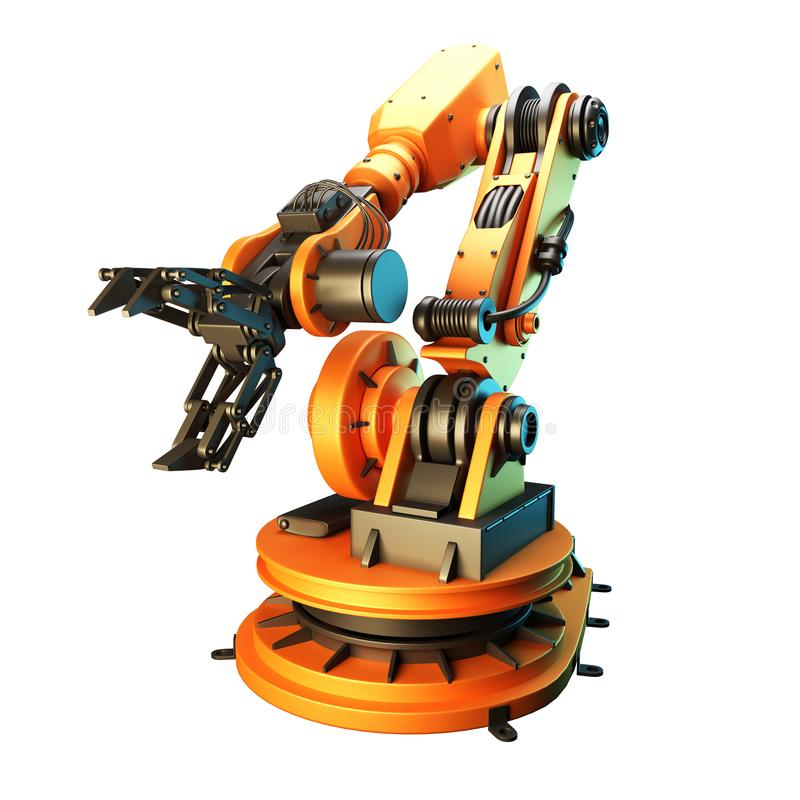 Robotic arm on white background. 3D rendering royalty free stock photos