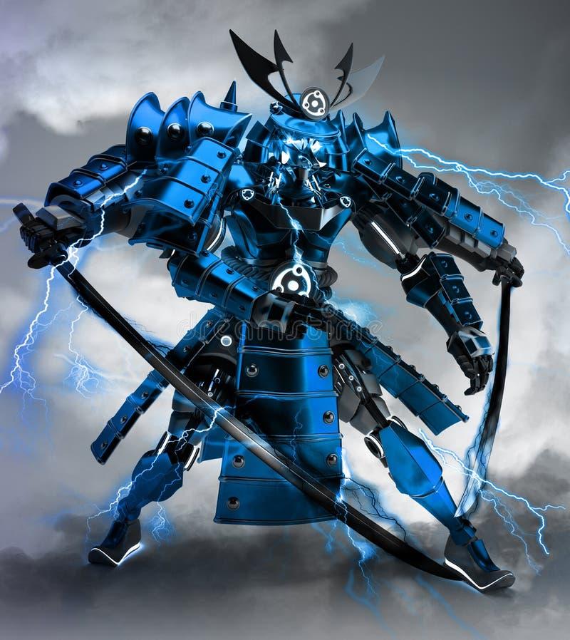 Samurai robot warrior design .3D rendering royalty free stock photo