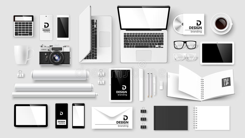 Mock Up set of corporate identity and branding royalty free illustration