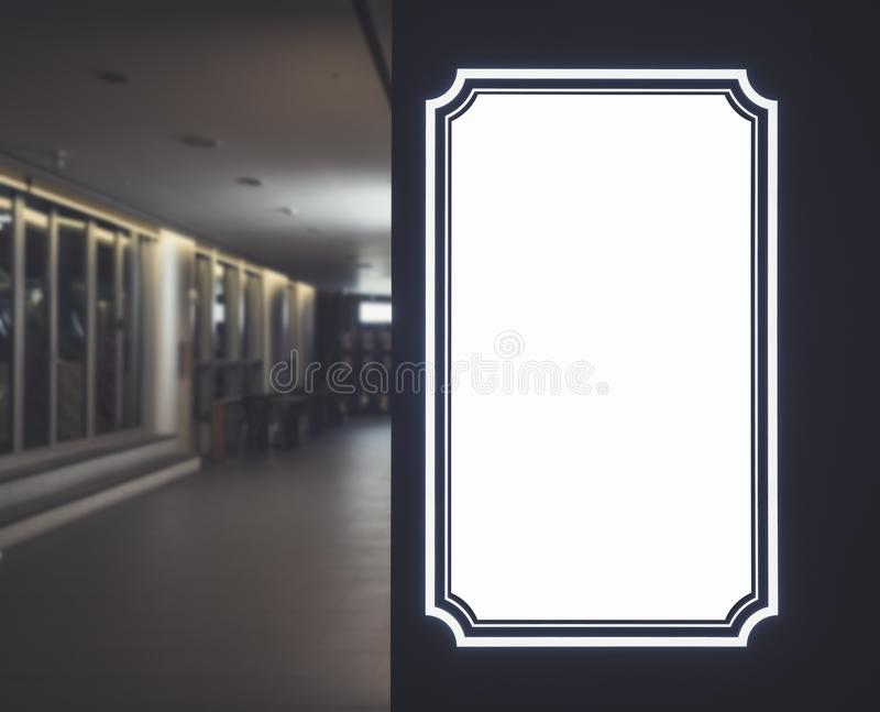 Mock up sign template Blank Banner frame Border Indoor Building royalty free stock photos