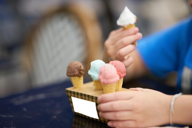 Mock up of small ice cream cones on box for stand of ice cream royalty free stock images
