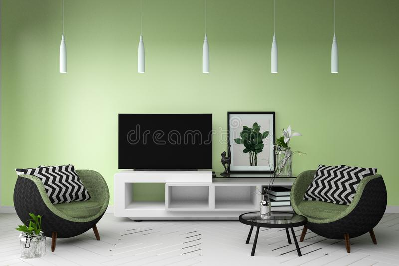 Smart TV in Living color full style interior. 3d rendering. Mock up Smart TV in Living color full style interior. 3d rendering royalty free illustration