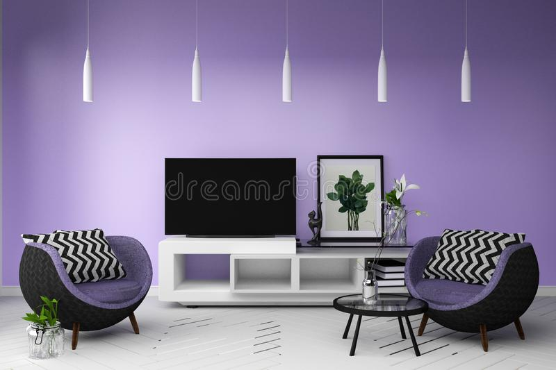 Smart TV in Living color full style interior. 3d rendering. Mock up Smart TV in Living color full style interior. 3d rendering vector illustration