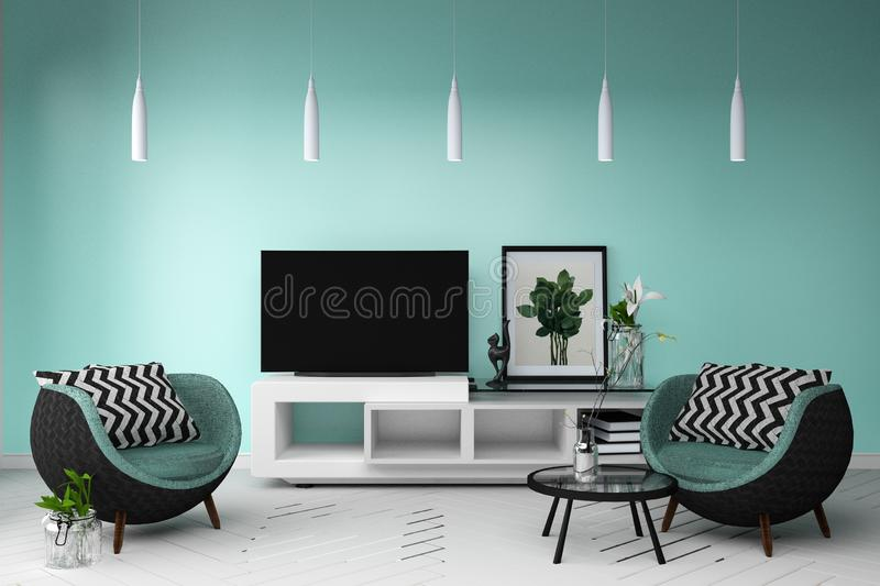 Smart Tv Mockup with room with sofa and lamp decoration stand table. 3d rendering. Mock up Smart Tv Mockup with room with sofa and lamp decoration stand table vector illustration