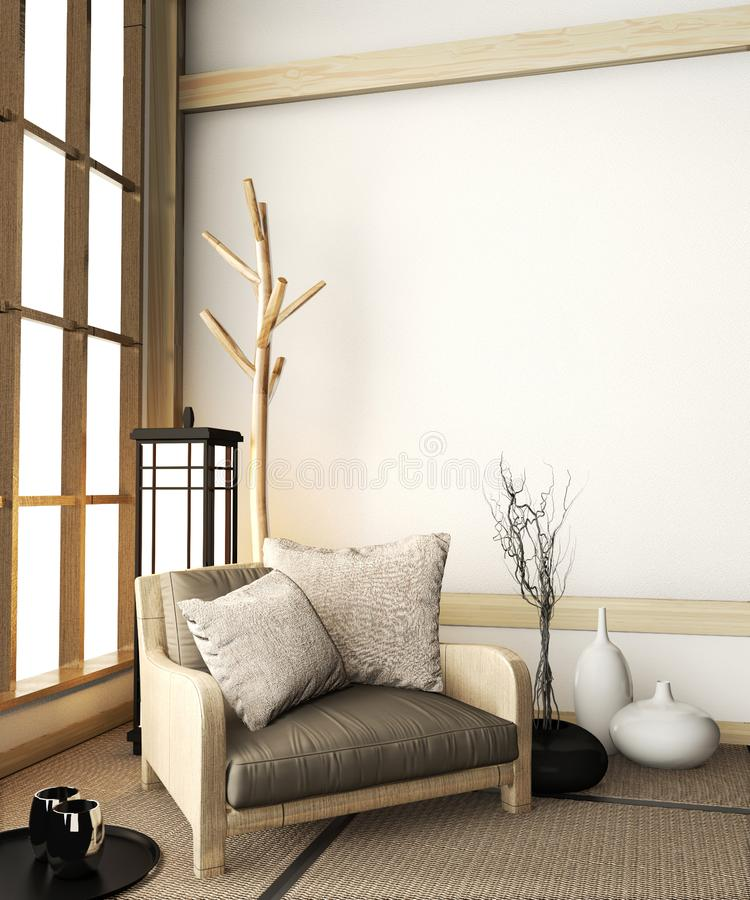 Mock up Sofa armchair mock up on room zen with tatami floor and decoration japanese style.3D rendering stock illustration