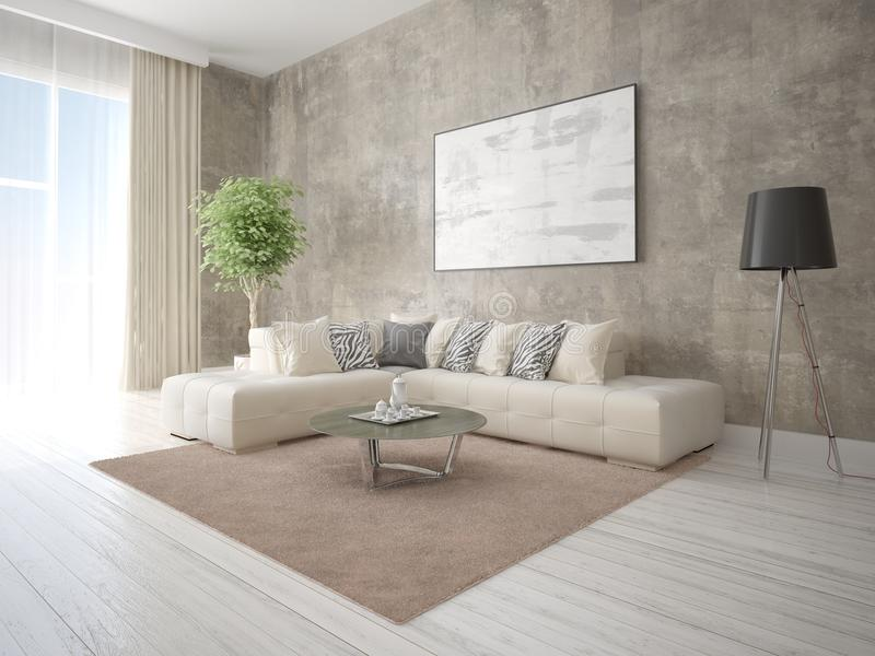Mock Up A Stylish Living Room With A Comfortable Corner Sofa Stock