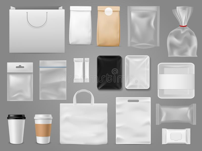 Mock up for take away. Packaging food containertea and paper bag, disposable cup for branding coffee shop or cafe vector royalty free illustration