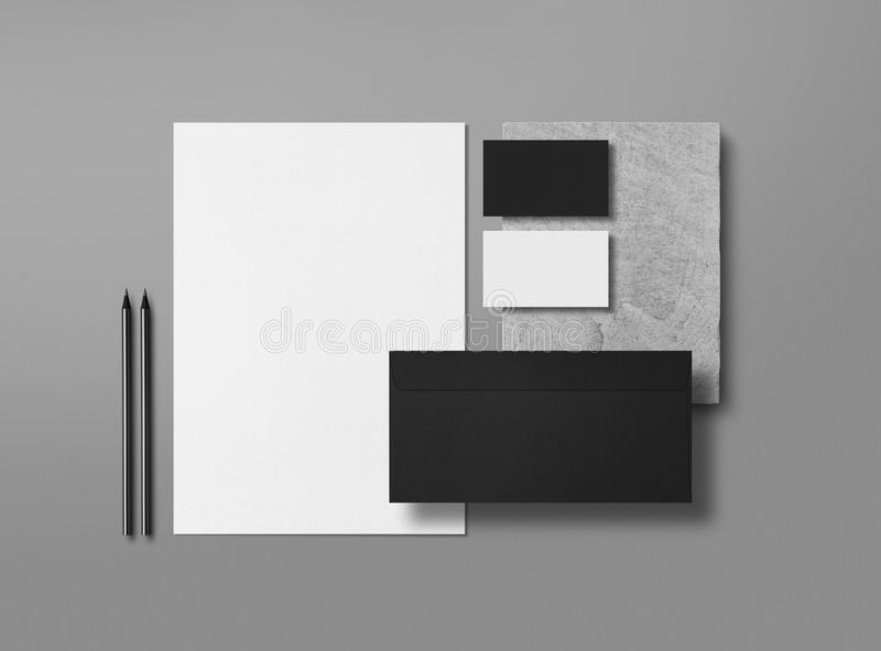 Mock up. Template for branding identity. Blank objects for placing your design. Sheets of paper, business cards and envelope. 3d illustration stock illustration
