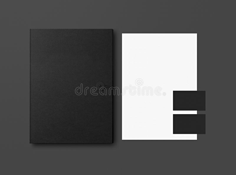 Mock-up. Template for branding identity. Blank objects for placing your design. Sheets of paper, business cards and folder stock illustration