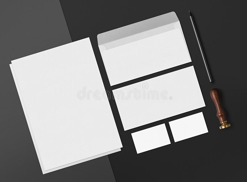 Mock up. Template for branding identity. Blank objects for placing your design. Sheets of paper, business cards, pencil and envelope royalty free illustration