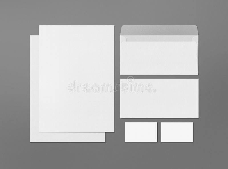 Mock up. Template for branding identity. Blank objects for placing your design. Sheets of paper, business cards and envelope vector illustration