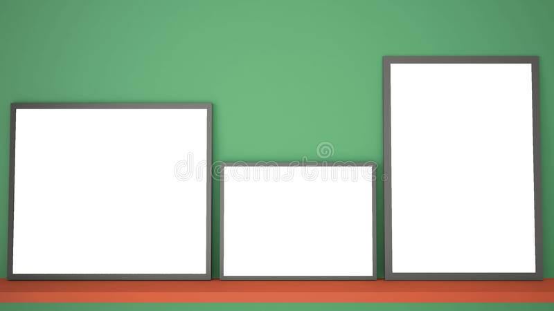 Mock up template with copy space, three gray frames on red book shelf or desk, green background idea interior royalty free illustration