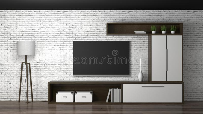 Mock up Template Tv wood cabinet in modern empty room interior background 3d illustration home designs,background shelves and boo. Ks on the desk in front of vector illustration