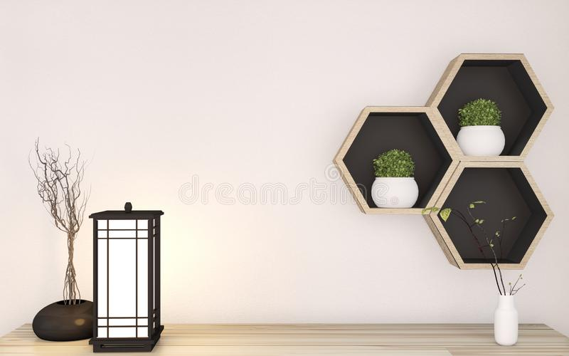 Top Cabinet mock up zen style on room japanese minimal design interior and  Hexagon shelf wooden on wall background.3D rendering royalty free illustration