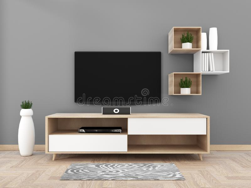 TV on cabinet in modern living room on gray wall background,3d rendering. Mock up TV on cabinet in modern living room on gray wall background,3d rendering stock illustration