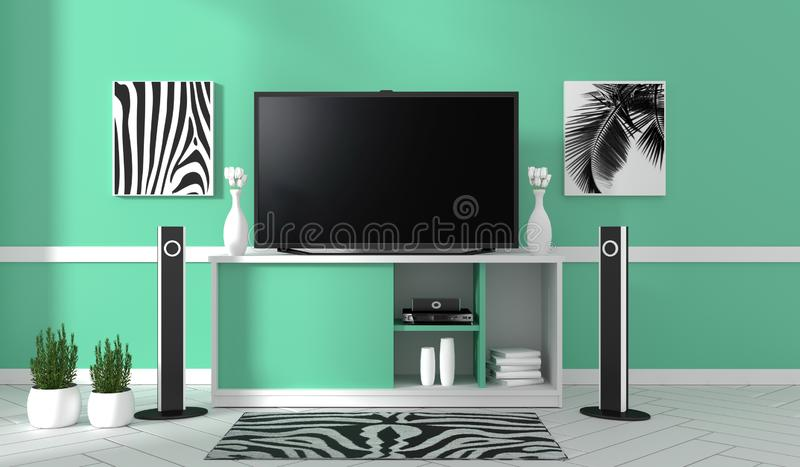 TV on cabinet in modern living room on mint wall background,3d rendering. Mock up TV on cabinet in modern living room on mint wall background,3d rendering stock illustration