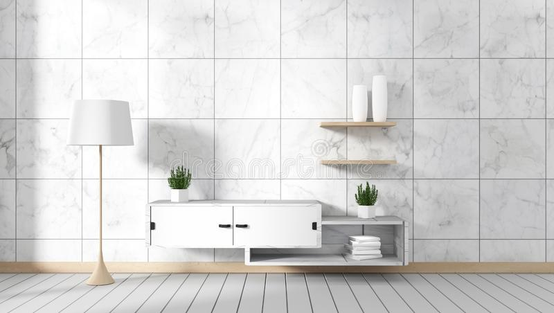 Mock up Tv cabinet in room interior granite tile on white wood ,minimal designs - japanese style, 3d rendering. Tv cabinet in room interior granite tile on white royalty free illustration
