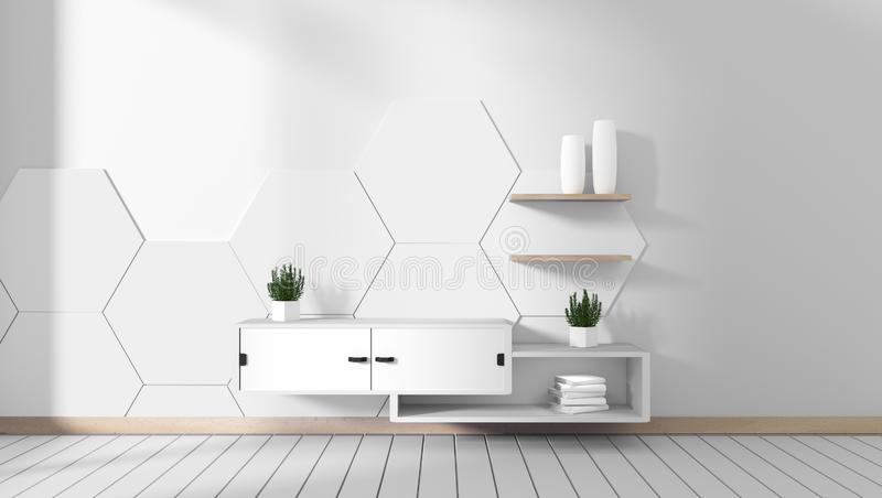 Mock up Tv cabinet in room white hexagon tile minimal designs, zen style. 3d rendering. Tv cabinet in room white hexagon tile minimal designs, zen style. 3d vector illustration