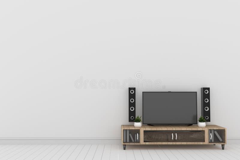 Tv - Mockup in modern white empty room. 3D rendering. Mock up Tv - Mockup in modern white empty room. 3D rendering royalty free illustration